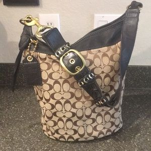 Coach Bleecker Bucket Signature Black Hobo Bag